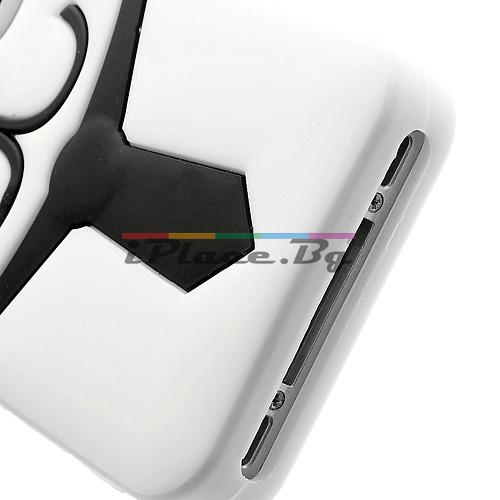 Силиконов, бял калъф - куче за iPhone 4/4S