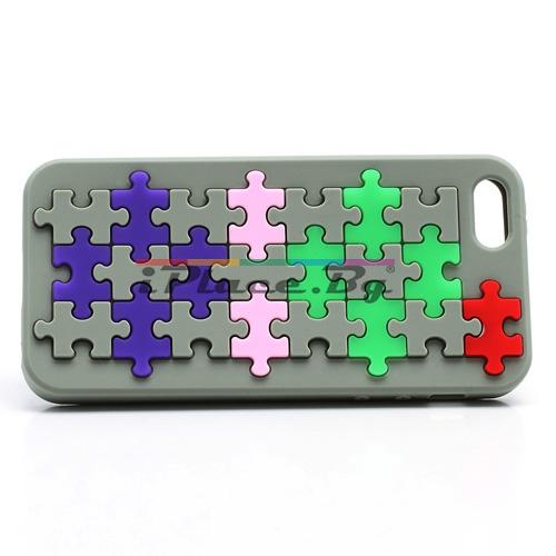 Силиконов, сив калъф - пъзел за iPhone 5/5S/SE
