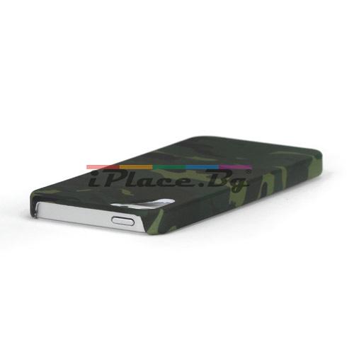 Пластмасов, зелен панел - камуфлаж за iPhone 5/5S/SE