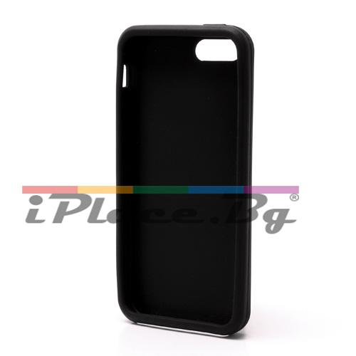 Силиконов, черен калъф - оранжева панделка за iPhone 5/5S/SE