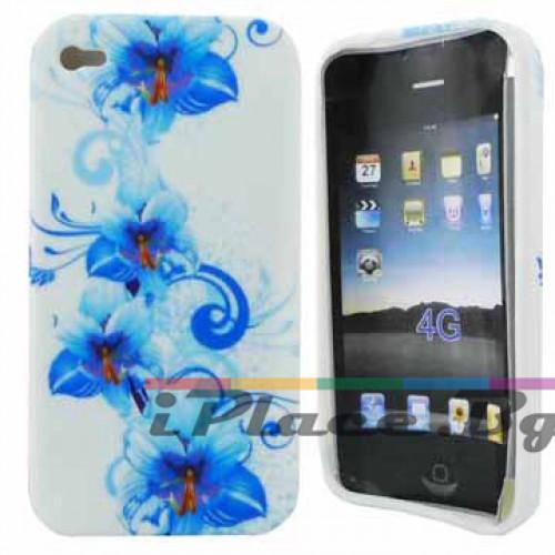 Силиконов, бял калъф - цветя за iPhone 4/4S