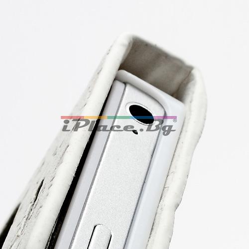 Кожен, бял калъф - рисунки за iPhone 4/4S