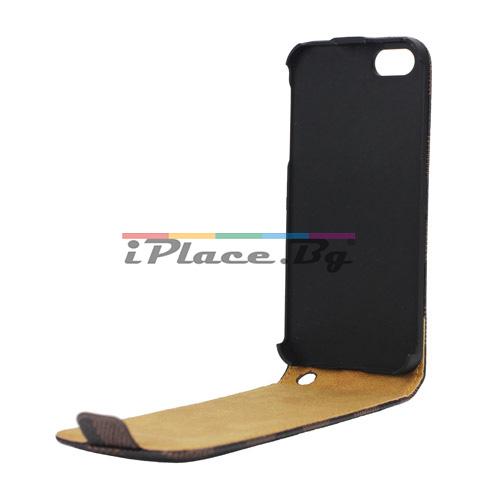 Кожен, кафяв калъф - карета за iPhone 5/5S/SE