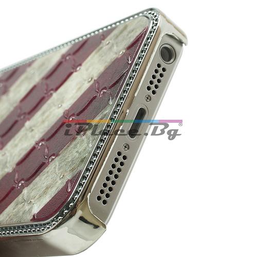 Пластмасов, сребрист панел - американско знаме за iPhone 5/5S/SE