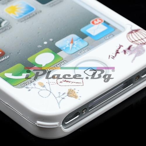 Пластмасов, бял панел - панделка за iPhone 4/4S