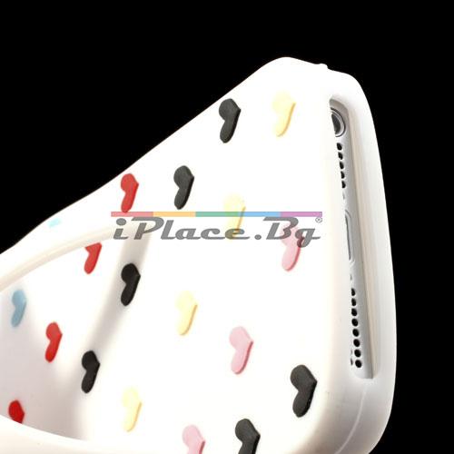 Силиконов, бял калъф - джапанка със сърца за iPhone 5/5S/SE