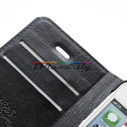 Кожен, черен калъф - черна и бяла кожа за iPhone 5/5S/SE