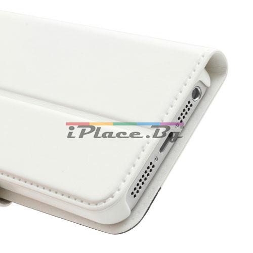 Кожен, бял калъф - бяла и черна кожа за iPhone 5/5S/SE