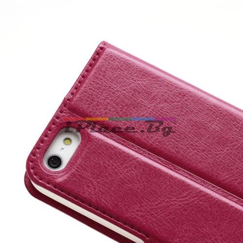 Кожен, розов калъф - розова и бяла кожа за iPhone 5/5S/SE