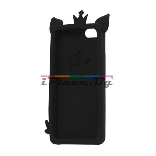 Силиконов, черен калъф - прасенце за iPhone 5/5S/SE