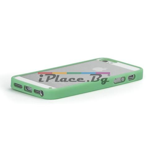Силиконов, зелен бъмпер, с прозрачен панел за iPhone 5/5S/SE