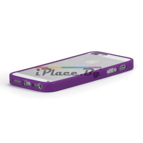 Силиконов, лилав бъмпер, с прозрачен панел за iPhone 5/5S/SE