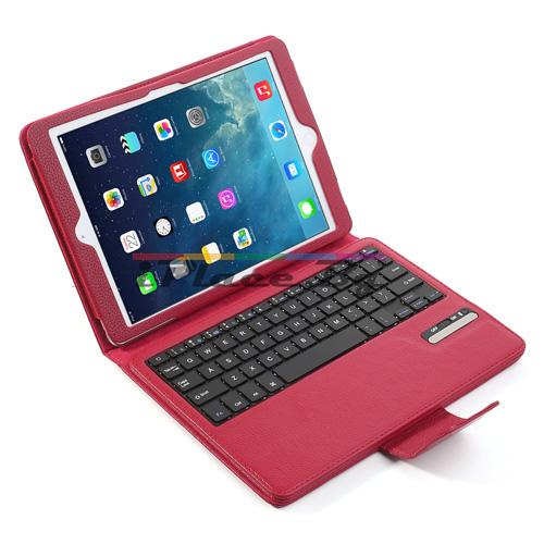 Кожен, червен калъф - bluetooth клавиатура за iPad Air/Air 2