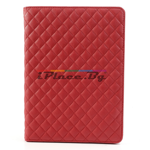 Кожен, червен калъф - ромбове за iPad Air