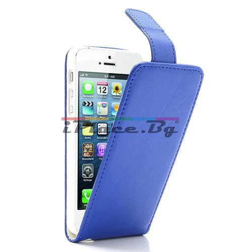 Кожен, син калъф за iPhone 5/5S/SE