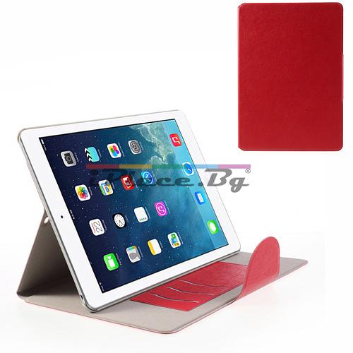 Кожен, червен калъф - стойка за iPad Air