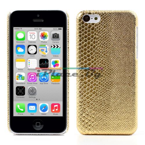 Кожен, златист панел - змийска кожа за iPhone 5C