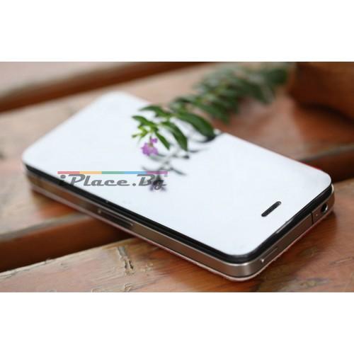 Кожен, оранжев панел - крокодилска кожа и огледало за iPhone 5/5S/SE