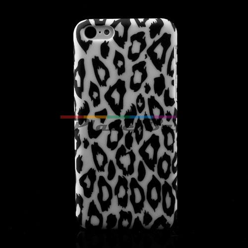 Пластмасов, бял панел - леопардов десен за iPhone 5C