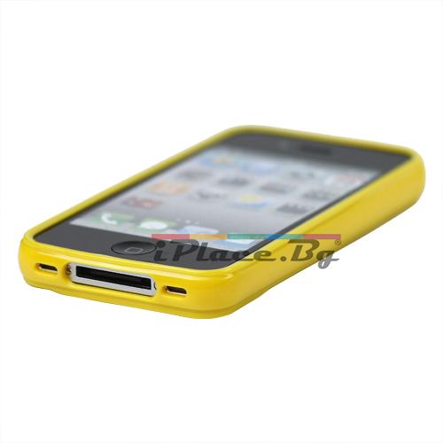 Силиконов, жълт калъф - фигури за iPhone 4/4S