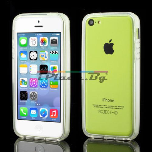 Силиконов, бял бъмпер за iPhone 5C