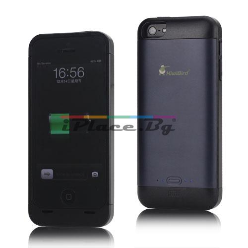 Пластмасов, тъмносив панел - батерия 2000mAh за iPhone 5/5S/SE