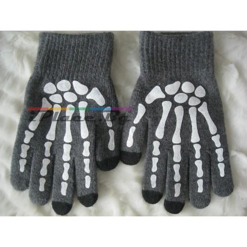 Плетени, сиви ръкавици за тъч-скрийн екрани