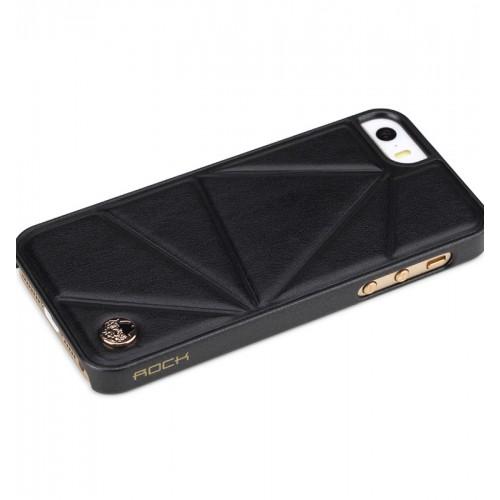 Кожен, черен панел - триъгълници за iPhone 5/5S/SE