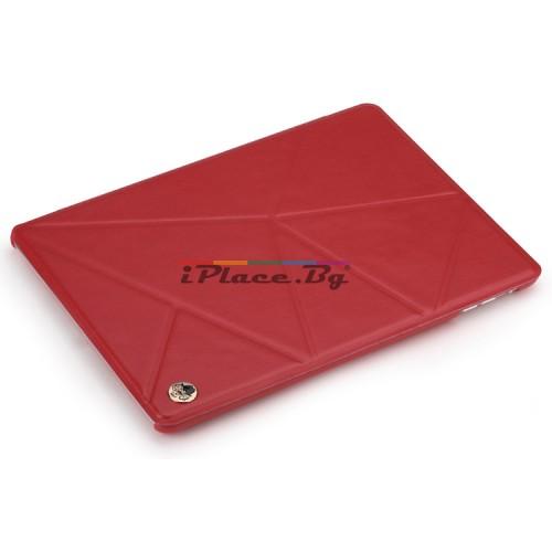 Кожен, червен калъф - триъгълници за iPad Air