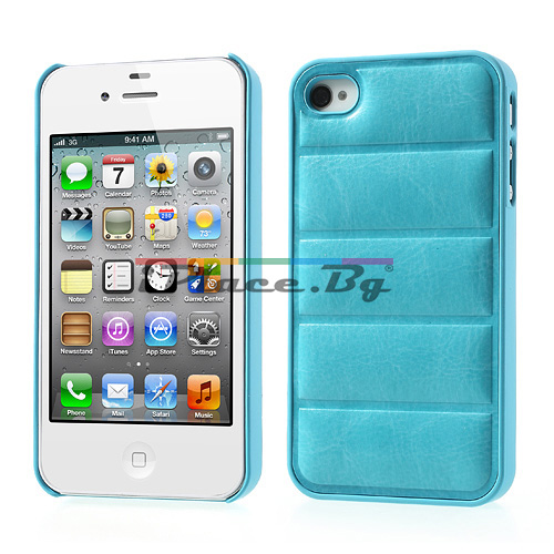 Кожен, син панел - правоъгълници за iPhone 4/4S
